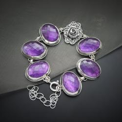 srebrna,bransoletka,z ametystem,z kwiatami - Bransoletki - Biżuteria