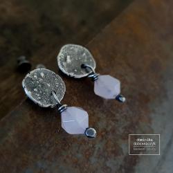 surowe,srebro,kwarc,sztyfty,wkrętki - Kolczyki - Biżuteria