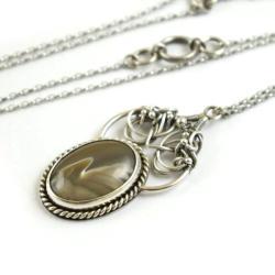naszyjnik,wisior,krzemień pasiasty,wire-wrapping - Naszyjniki - Biżuteria