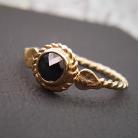 Pierścionki złoty pierścionek z czarnym diamentem