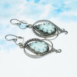 larimar,kolczyki,wire wrapping,unikat,srebrne - Kolczyki - Biżuteria