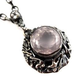 kwarc różowy,blask,srebrny,faset,królewski,topaz - Wisiory - Biżuteria