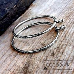 srebrne,masywne,duże,młotkowane,oksydowane - Kolczyki - Biżuteria