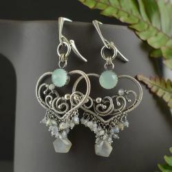 kolczyki,wire-wrapping,romantyczne,błękitne,ślub - Kolczyki - Biżuteria