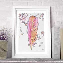 abstrakcja,pióra,na ścianę,obraz,ilustracja,pink, - Ilustracje, rysunki, fotografia - Wyposażenie wnętrz