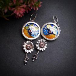 kolczyki słoneczniki,kolczyki kolorowe emalie - Kolczyki - Biżuteria