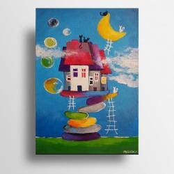 obraz,abstrakcja,miasteczko - Obrazy - Wyposażenie wnętrz