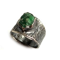 szmaragd,srebrny,blask,srebro,retro,zieleń,wiosna - Pierścionki - Biżuteria
