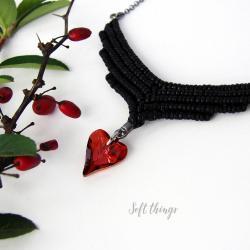 srebrny naszyjnik z serduszkiem,serce Swarovski - Naszyjniki - Biżuteria