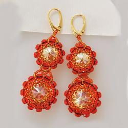 Kolczyki Orange Swarovski srebro pozłacane - Kolczyki - Biżuteria