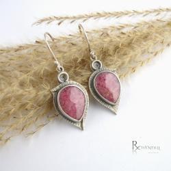 kolczyki z różowym kamieniem,rodonit - Kolczyki - Biżuteria