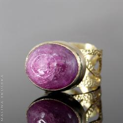 ażur,rubin,złocony,regulowany,otwarty - Pierścionki - Biżuteria