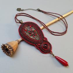 naszyjnik,z filigranem,czerwony,z agatem,haft - Naszyjniki - Biżuteria