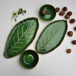 ceramika ręcznie robiona,liść ceramiczny,patera, - Ceramika i szkło - Wyposażenie wnętrz
