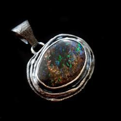 opal,srebrny,opalowy,tęczowy,austarlijski,retro - Wisiory - Biżuteria