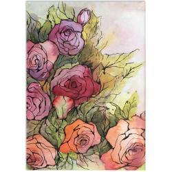 akwarela,tusz,rysunek,kwiaty,malarstwo,sztuka - Ilustracje, rysunki, fotografia - Wyposażenie wnętrz