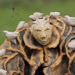 rzeźba,ceramika,ptaki,drzewo - Ceramika i szkło - Wyposażenie wnętrz