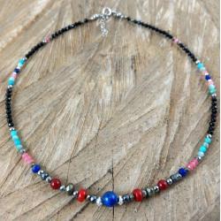 kolorowy etniczny naszyjnik,delikatny - Naszyjniki - Biżuteria