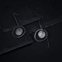 srebrne kolczyki,surowe,kolczyki koła - Kolczyki - Biżuteria