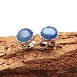 kyanit,srebrne,stalowe,mini,błękitne,delikatne - Kolczyki - Biżuteria