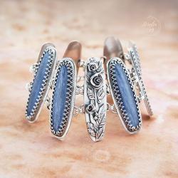 srebrna,bransoletka,z kianitem,z kwiatami - Bransoletki - Biżuteria