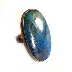 azuryt,kobalt,srebrny,szarości,unikat,malachit - Pierścionki - Biżuteria