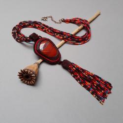 naszyjnik,z jaspisem brekcja,z chwostem,haft - Naszyjniki - Biżuteria