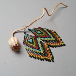 kolczyki indiańskie,z frędzlami,długie,kolorowe - Kolczyki - Biżuteria