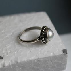 pierścionek srebro perła filigran retro - Pierścionki - Biżuteria