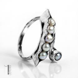 pierścionek srebrny,perła,srebro,regulowany - Pierścionki - Biżuteria