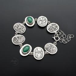 srebrna,bransoletka,z malachitem - Bransoletki - Biżuteria