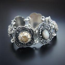srebrna,bransoletka,z opalem szlachetnym,kwiaty - Bransoletki - Biżuteria
