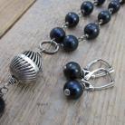 Komplety komplet biżuterii czarne perły,naszyjnik