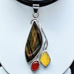wisiory srebrne,kwarc,biżuteria,bursztyn,srebro - Wisiory - Biżuteria