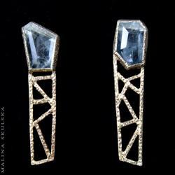 ażurowe,geometryczne,akwamaryn,sztyfty,unikat - Kolczyki - Biżuteria