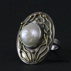 srebro,perła,oksydowane,polerowane,złocone - Pierścionki - Biżuteria