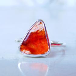 Pierścionek z opalem ognistym - Pierścionki - Biżuteria