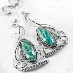 srebrne,kolczyki,wire-wrapping,amazonit,ciba - Kolczyki - Biżuteria