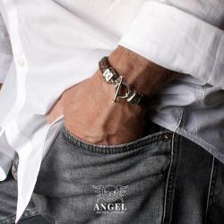 bransoleta męska,skórzana bransoleta dla mężczyzn - Dla mężczyzn - Biżuteria