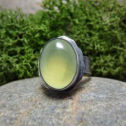 srebrny,prehnit,zielony,klasyczny,minerały - Pierścionki - Biżuteria