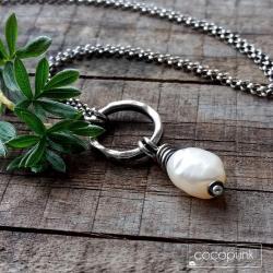 delikatny,roomantyczny,z perła,srebrny - Naszyjniki - Biżuteria