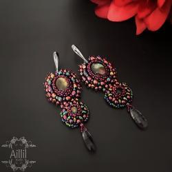 kobiece,haft koralikowy,barwne,roślinne,długie - Kolczyki - Biżuteria