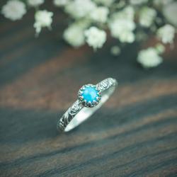 turkus,róże,zdobiona obrączka,retro,romantyczn - Pierścionki - Biżuteria