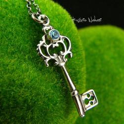 Nehesi,naszyjnik,srebrny,srebra,topazem,klucz - Naszyjniki - Biżuteria