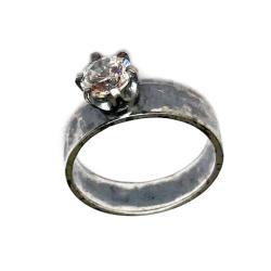topaz,biały,srebrny,delikatny,oksyda,retro,zaręczy - Pierścionki - Biżuteria