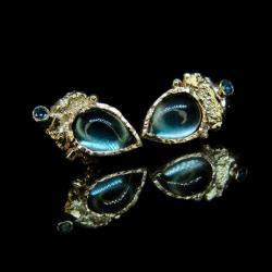 złoto,topaz,diament,kolczyki,sztyfty - Kolczyki - Biżuteria