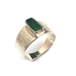 szmaragd,srebro,srebrny,surowy,zieleń,szlachetny - Pierścionki - Biżuteria