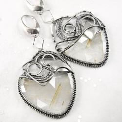 srebrne,kolczyki,wire-wrapping,kwarc,rutylowy - Kolczyki - Biżuteria