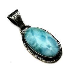 larimar,sebrny,blask,błękit,retro,oksyda,srebro, - Wisiory - Biżuteria