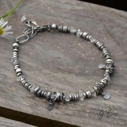 surowa srebrna bransoletka z diamentami z herkimer - Bransoletki - Biżuteria